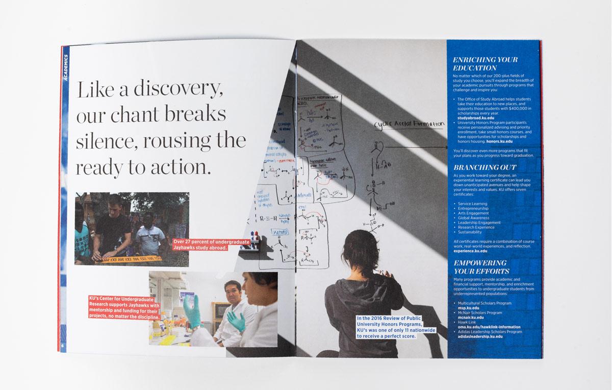 KU Viewbook highlighting academics