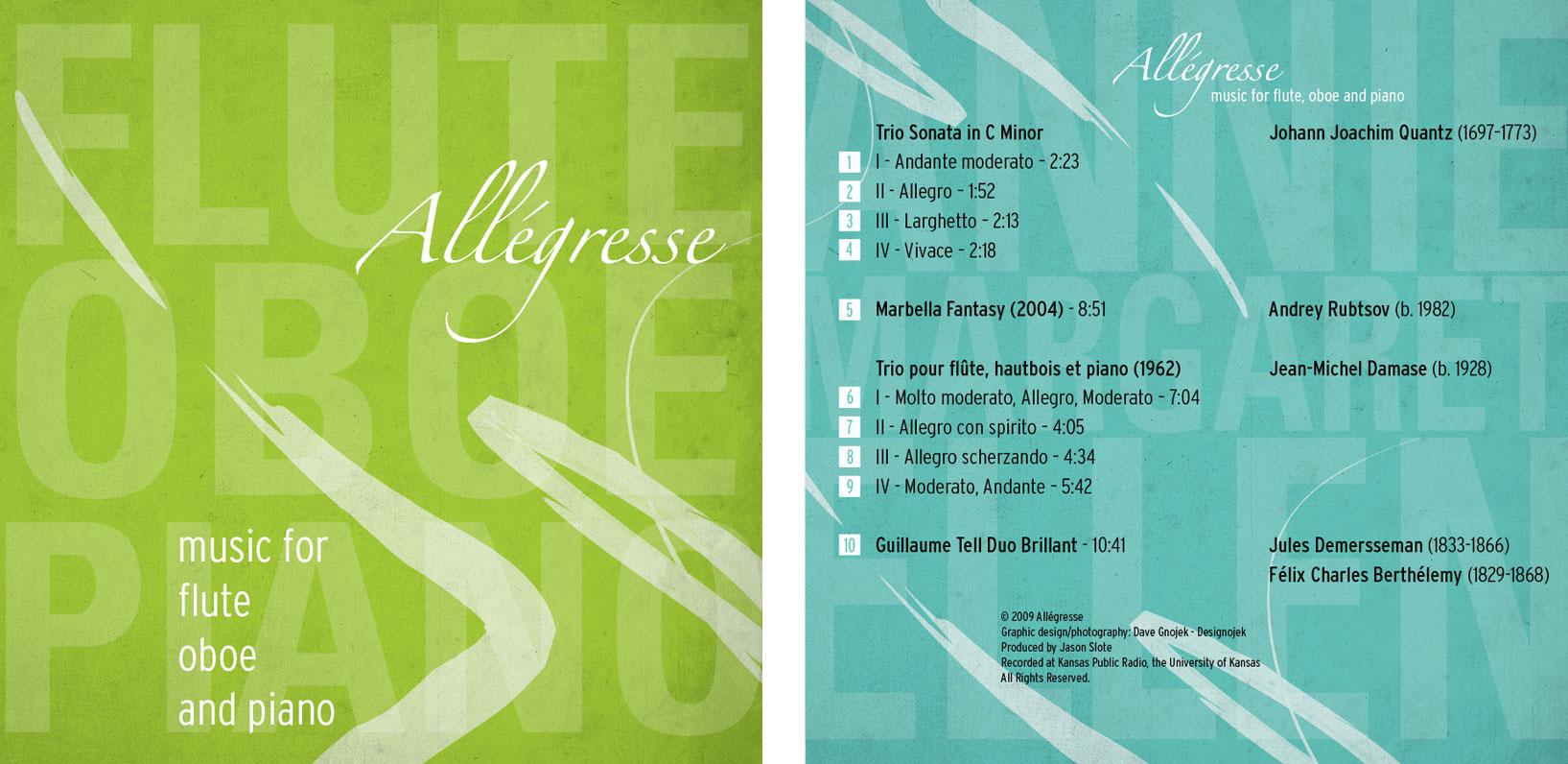 Allegresse - Music for Flute, Oboe, and Piano cover