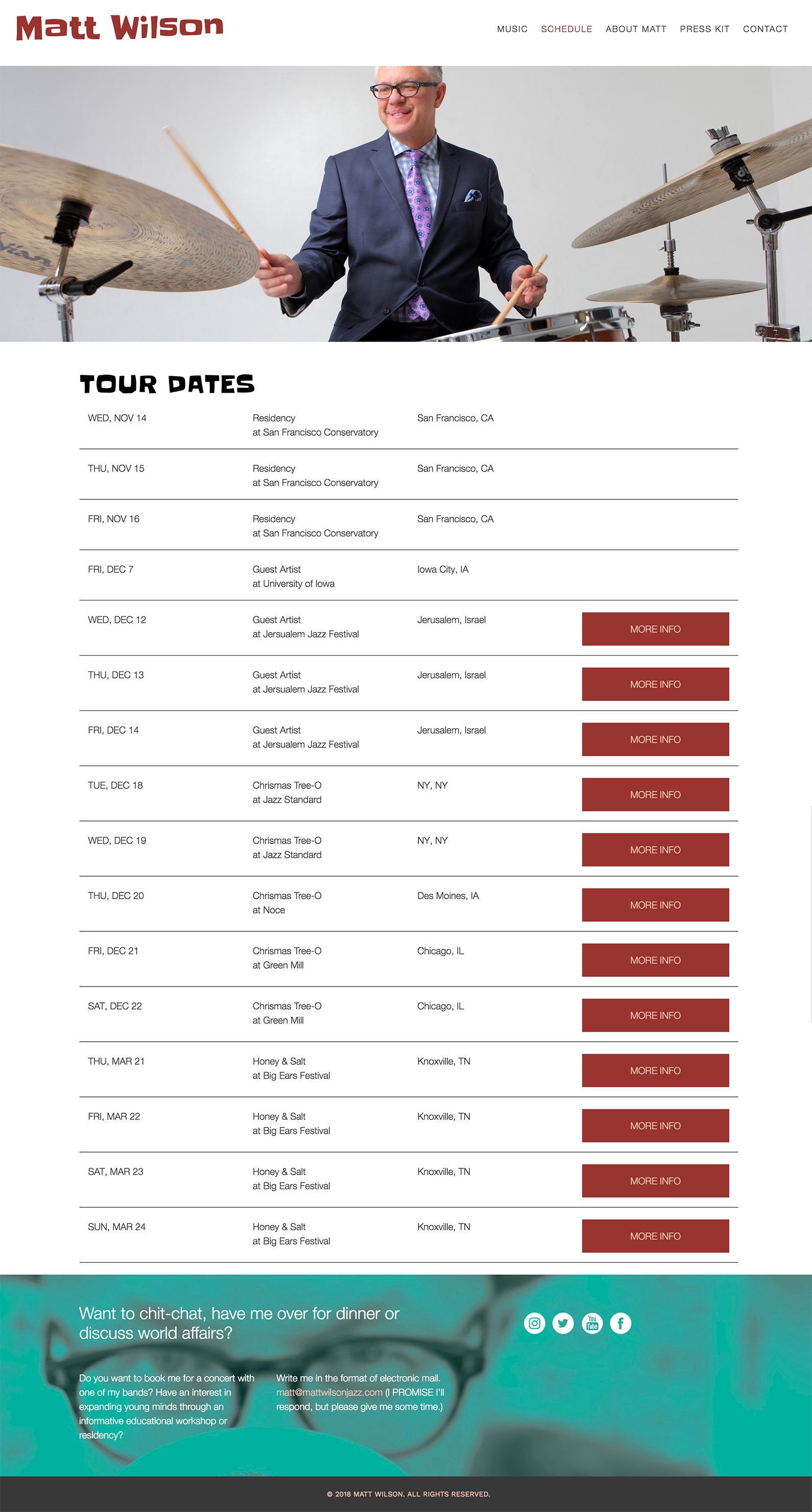 website tour dates layout