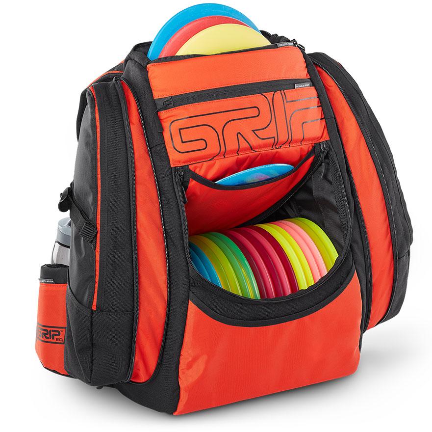 GRIPeq orange disc golf bag