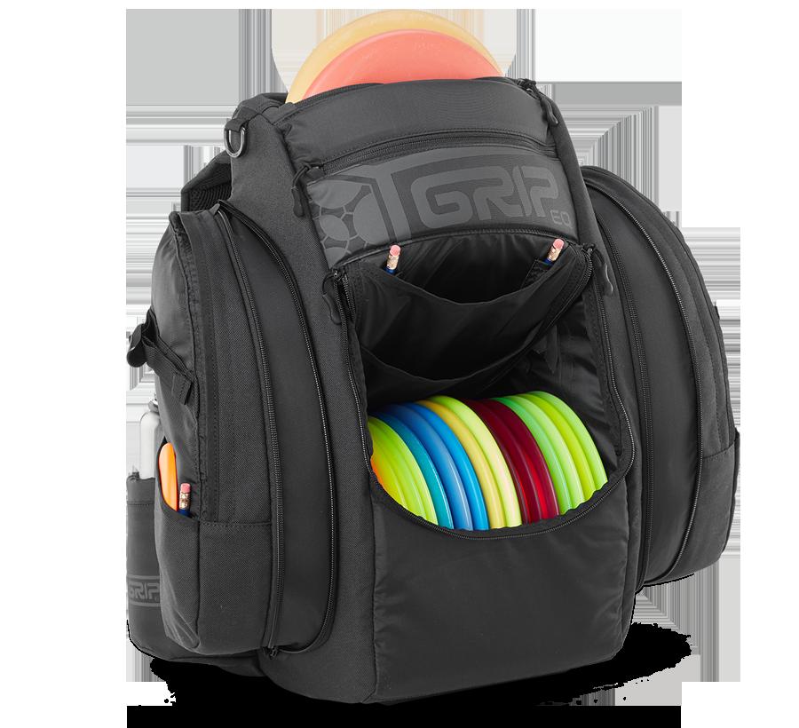 GRIPeq black disc golf bag