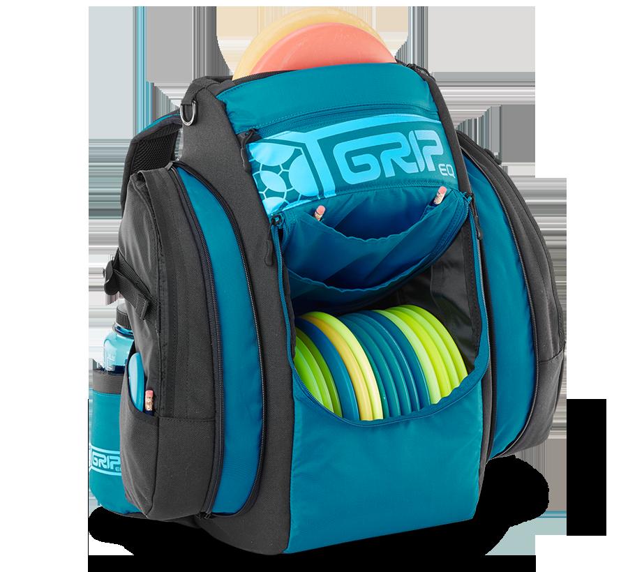 GRIPeq blue disc golf bag