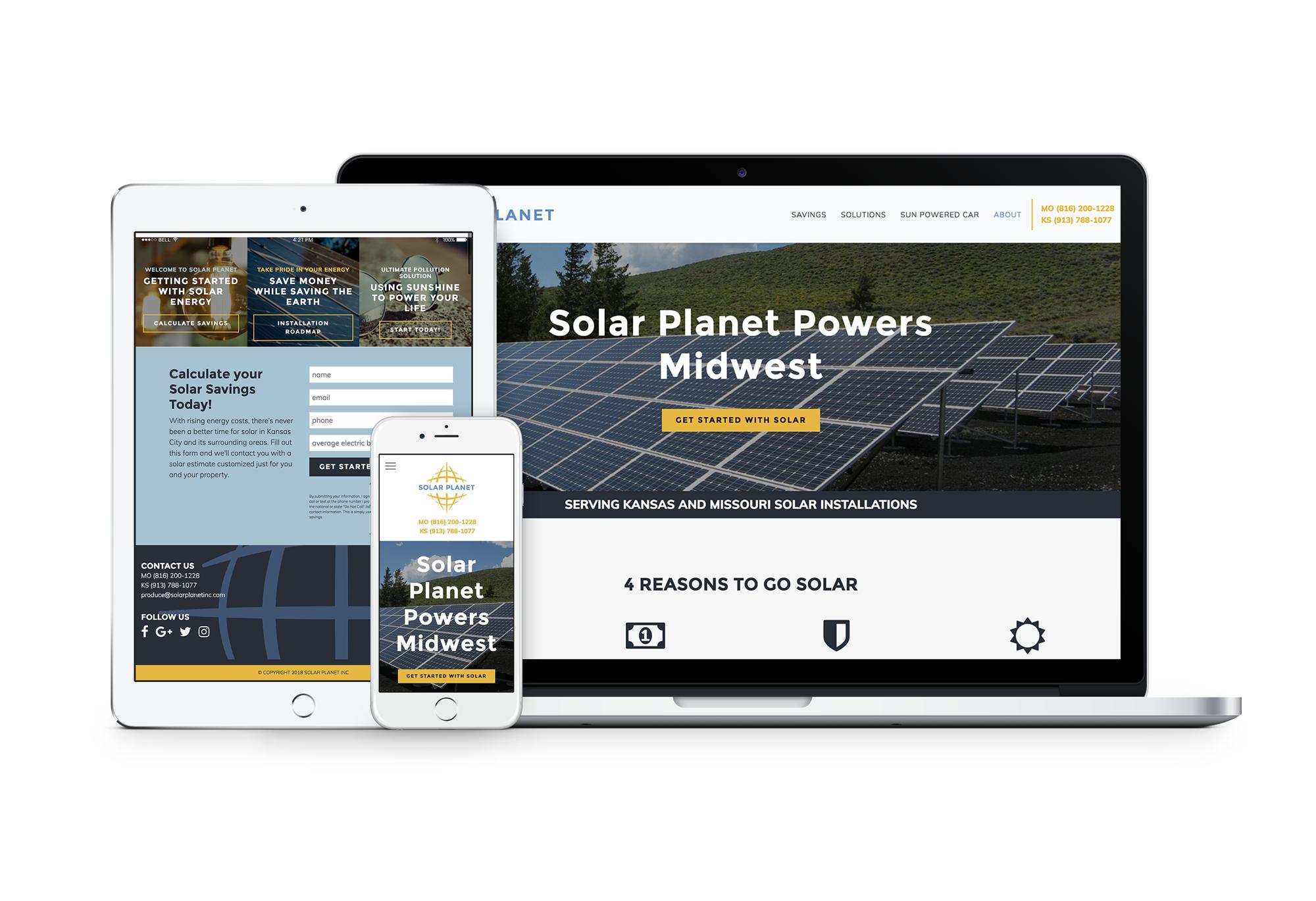 mockup of Solar Planet website on desktop, tablet, and mobile device