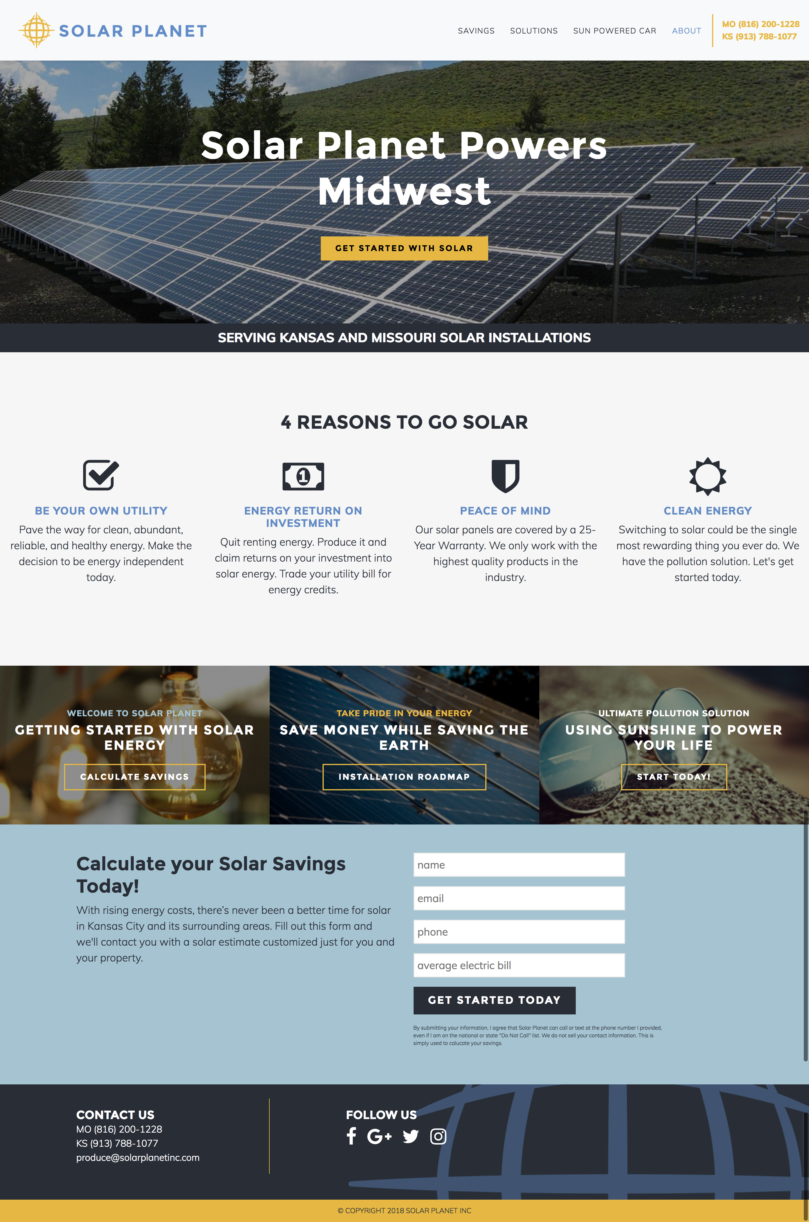 Solar Planet website home page