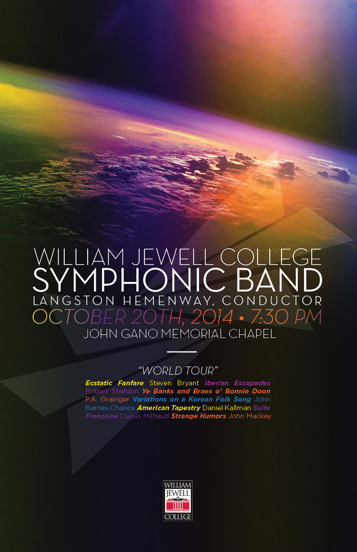 symphonic band poster with a colorful Earth horizon as shot from space