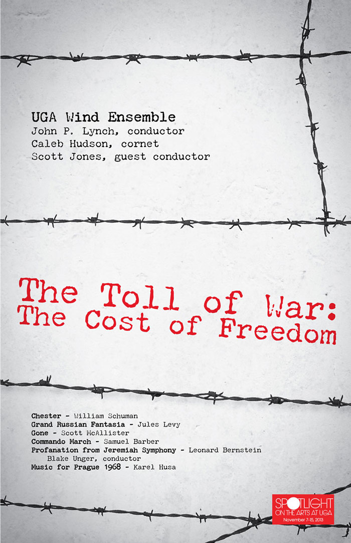 poster for a war-themed concert showing barbed wire