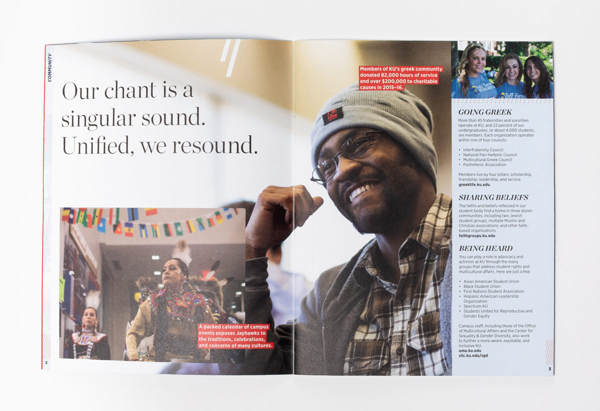 KU Viewbook showing support services and organizations
