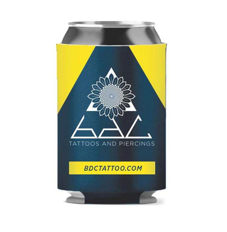 BDC beer koozie mockup