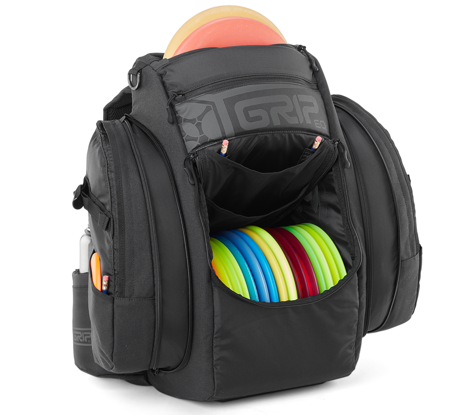 GRIPeq black disc golf bag