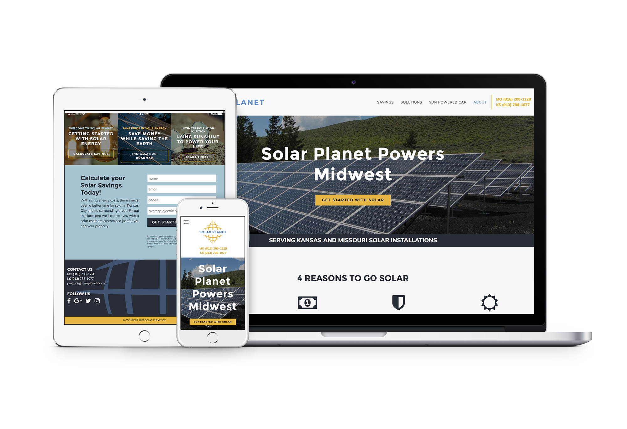 mockup of Solar Planet website on desktop, tablet, and mobile device