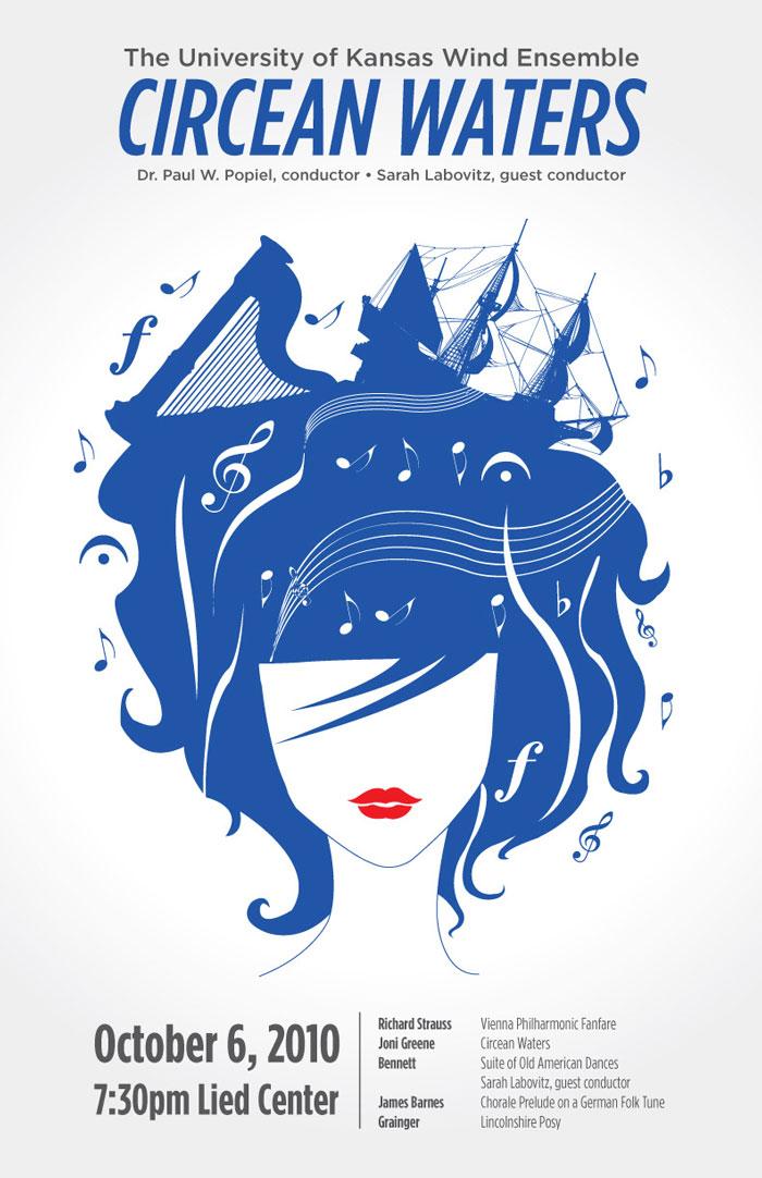 Medusa-like illustration on concert poster
