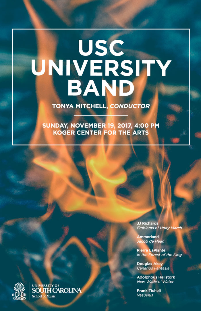 Concert band poster featuring blurred out fire in background