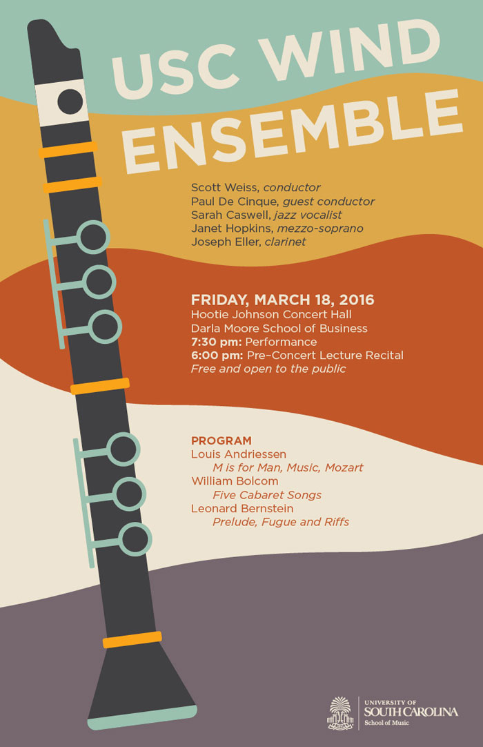 wind ensemble poster featuring illustration of clarinet