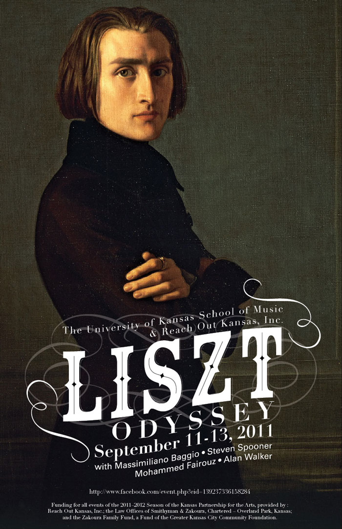 poster with image of Liszt and typography
