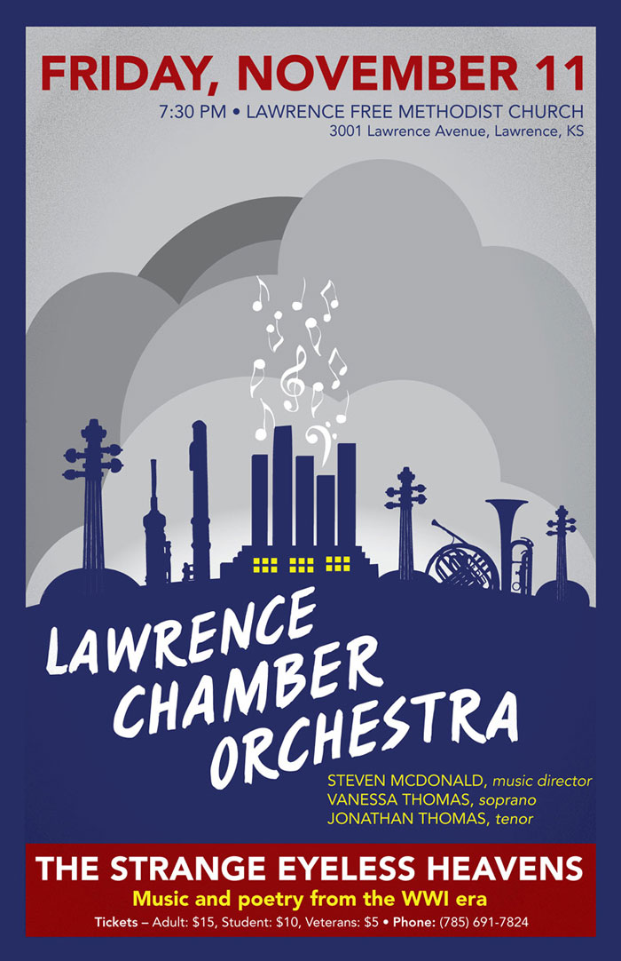 Lawrence Community Orchestra poster for WWI concert