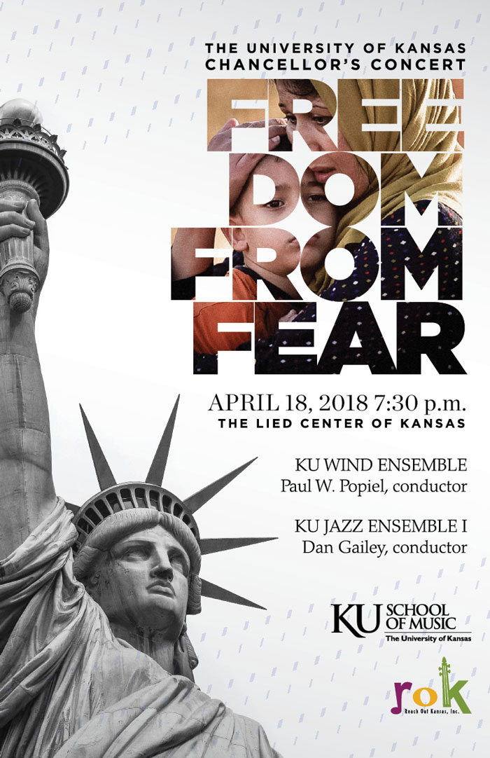 poster for KU Wind Ensemble Freedom From Fear concert