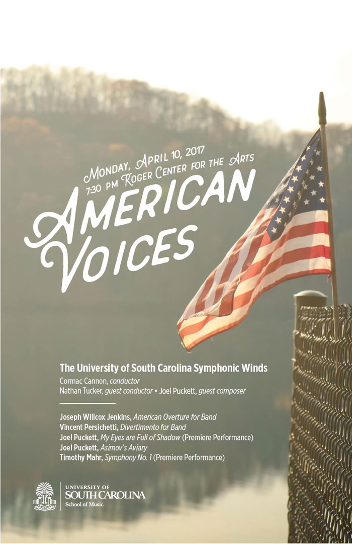 American Voices concert poster with an American flag