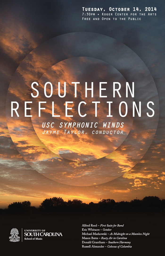 Southern Reflections concert band poster with geometric sunset