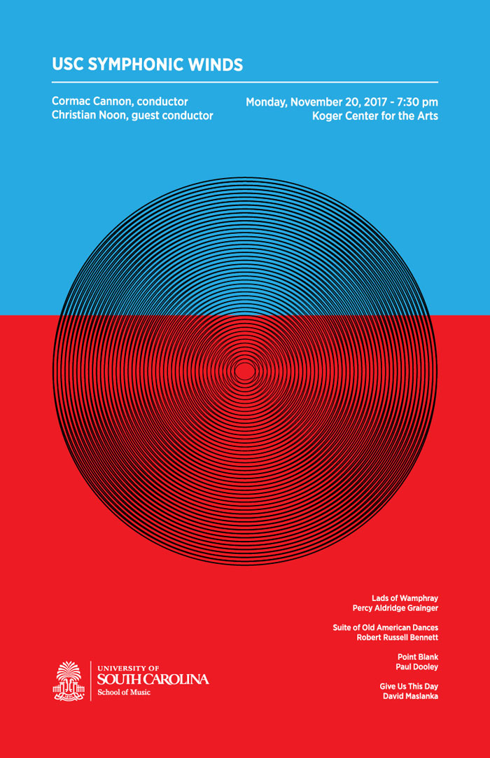 geometric concert poster with bright colors